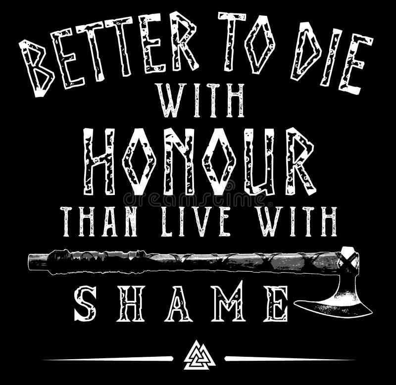 Viking Honour Poster con el hacha - diseño de la trama del texto stock de ilustración