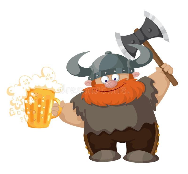 Viking i piwo ilustracji