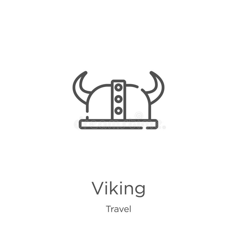 Viking icon vector from travel collection. Thin line viking outline icon vector illustration. Outline, thin line viking icon for. Viking icon. Element of travel stock illustration