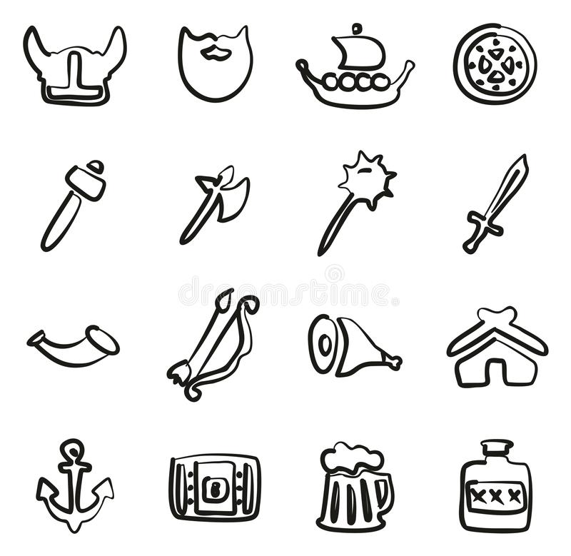 Viking Icons Freehand libre illustration