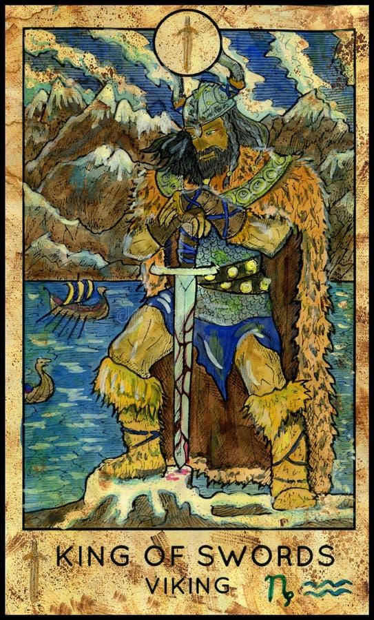 King Of Swords  The Tarot Card  Stock Vector - Illustration