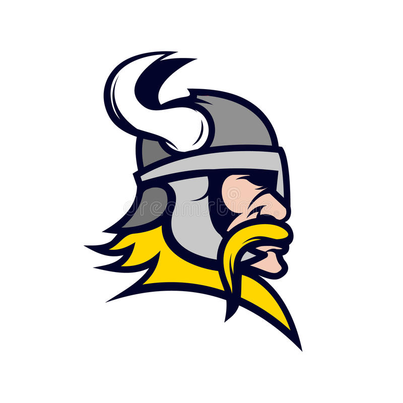 Viking-Kopfmaskottchen lokalisiert auf weißem Hintergrund stock abbildung