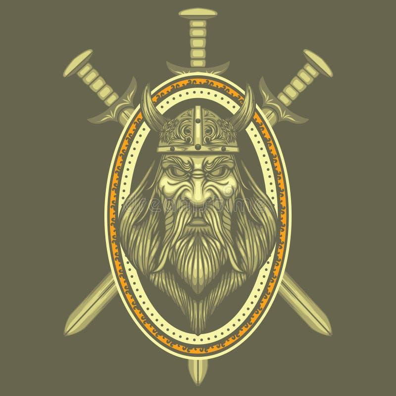 Viking kordzików grzebienia wektorowy Średniowieczny żakiet Zbroi wojownika Antycznego barbarzyńcy royalty ilustracja