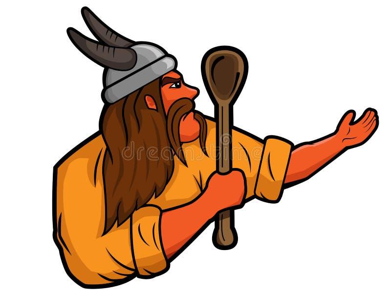 Viking kucharz z dużą drewnianą łyżkową kreskówką lub szef kuchni ilustracji