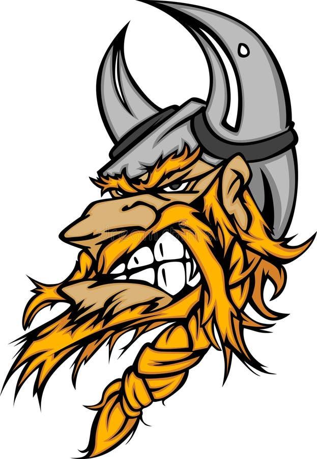 Viking/logo barbare de dessin animé de mascotte illustration libre de droits
