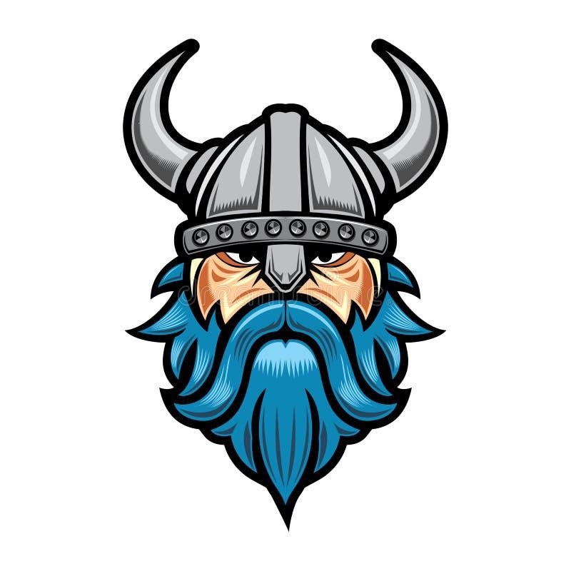 Viking Logo Vector Front Side View-Maskottchen-Illustration vektor abbildung
