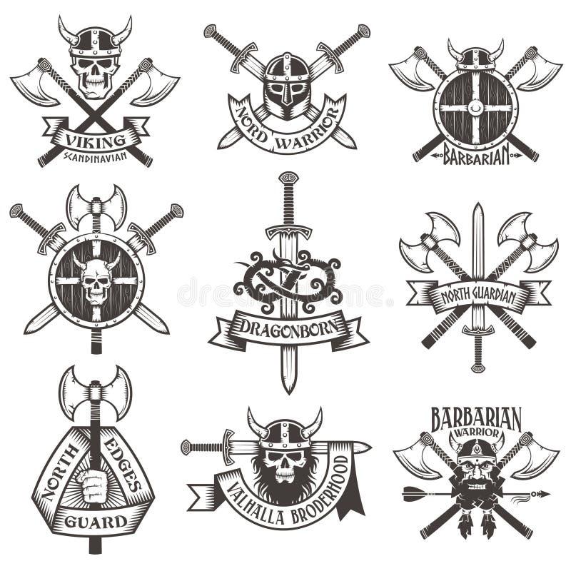 Viking logouppsättning vektor illustrationer