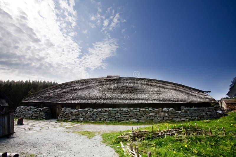 Viking Long House. A viking longhouse on the coast of Norway royalty free stock photo