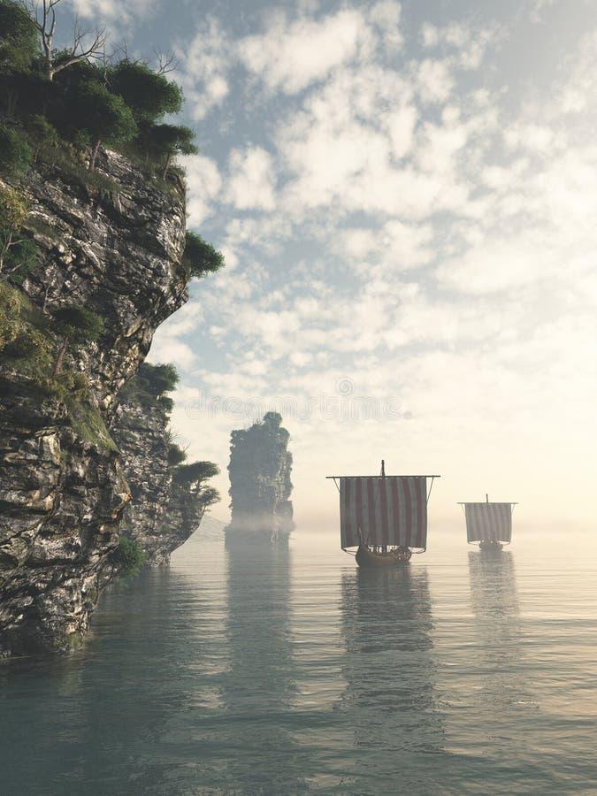 Viking Longships in acque sconosciute royalty illustrazione gratis