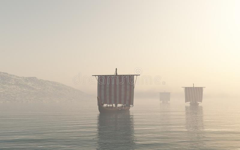 Viking Longships Approaching durch den Nebel vektor abbildung