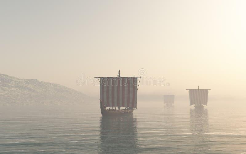Viking Longships Approaching a través de la niebla ilustración del vector