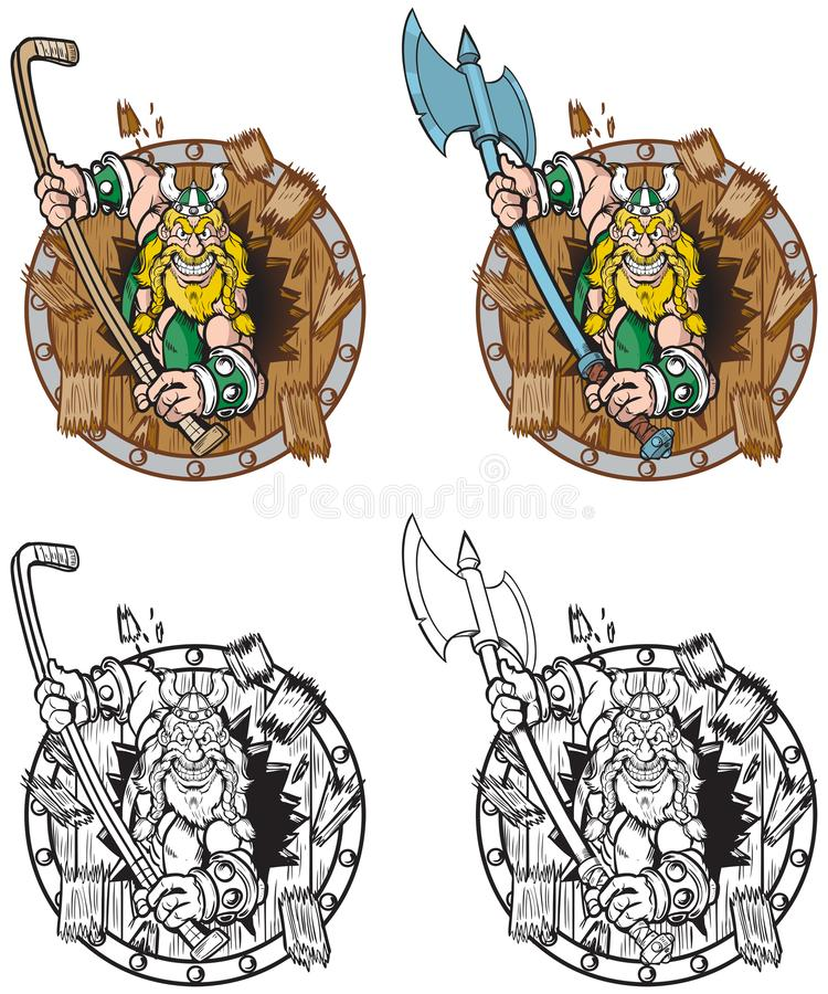 Viking Mascot Breaking Through Wood sköld royaltyfri illustrationer