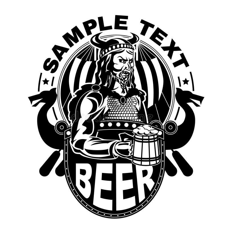 Viking met een mok bier stock illustratie