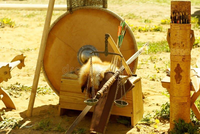 Viking-Militärzeltlager am historischen Rekonstruktionsfestival lizenzfreie stockfotografie
