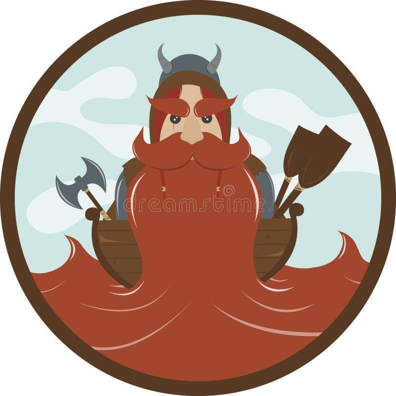 Viking mit einem roten Bart flach stock abbildung