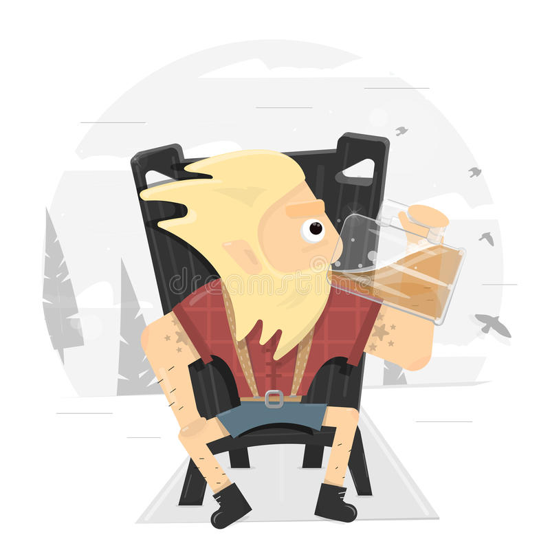 Viking na tronie pije wielkiego kubek piwo Logo dla baru Ilustracja dla pubów Charakter projektować restauracje royalty ilustracja