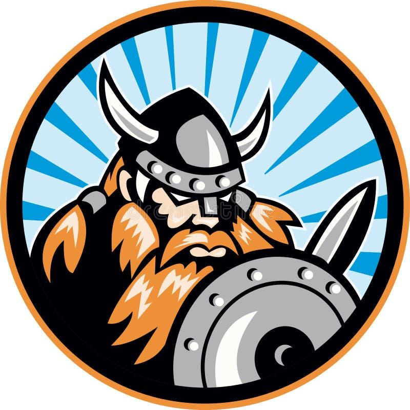 Viking Najeźdźcy Barbarzyńcy Wojownik Retro royalty ilustracja