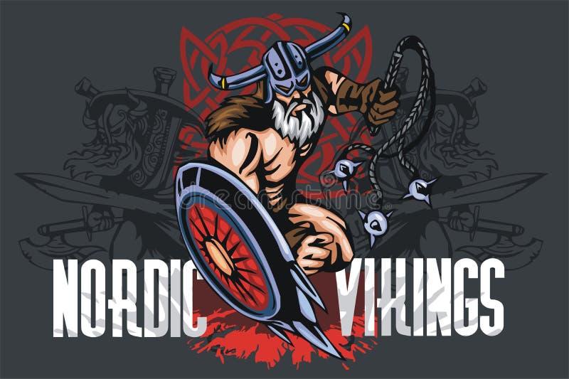 Viking norseman maskotki kreskówka z bludgeon i royalty ilustracja