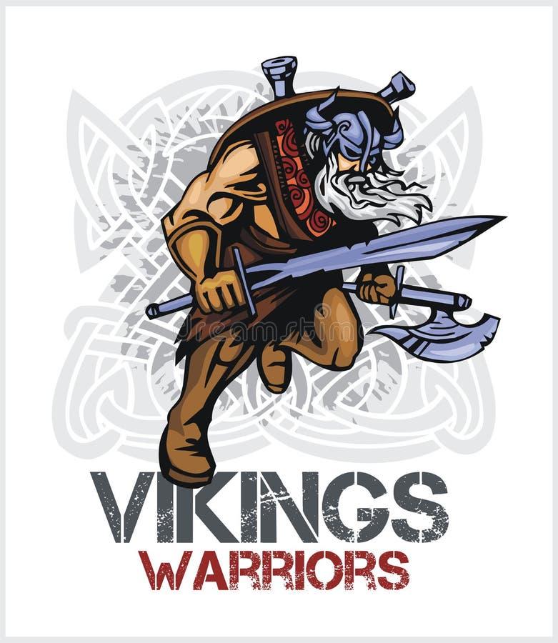Viking-Norsemanmaskottchenkarikatur mit Axt und Klinge vektor abbildung