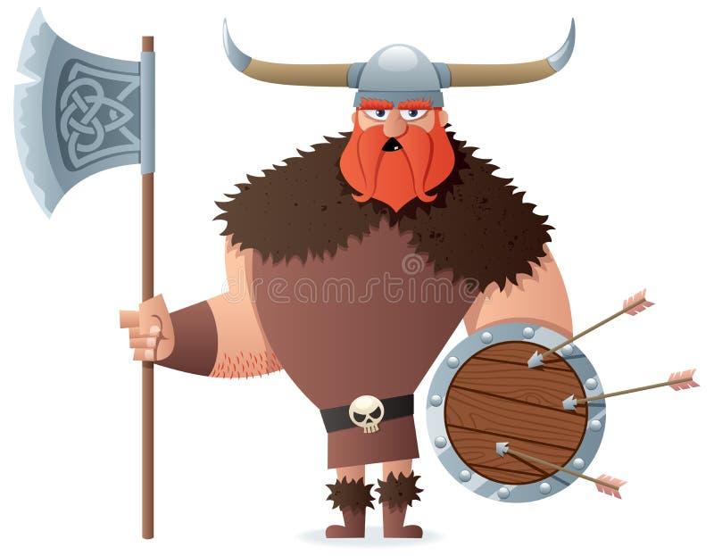 Viking på vit royaltyfri illustrationer