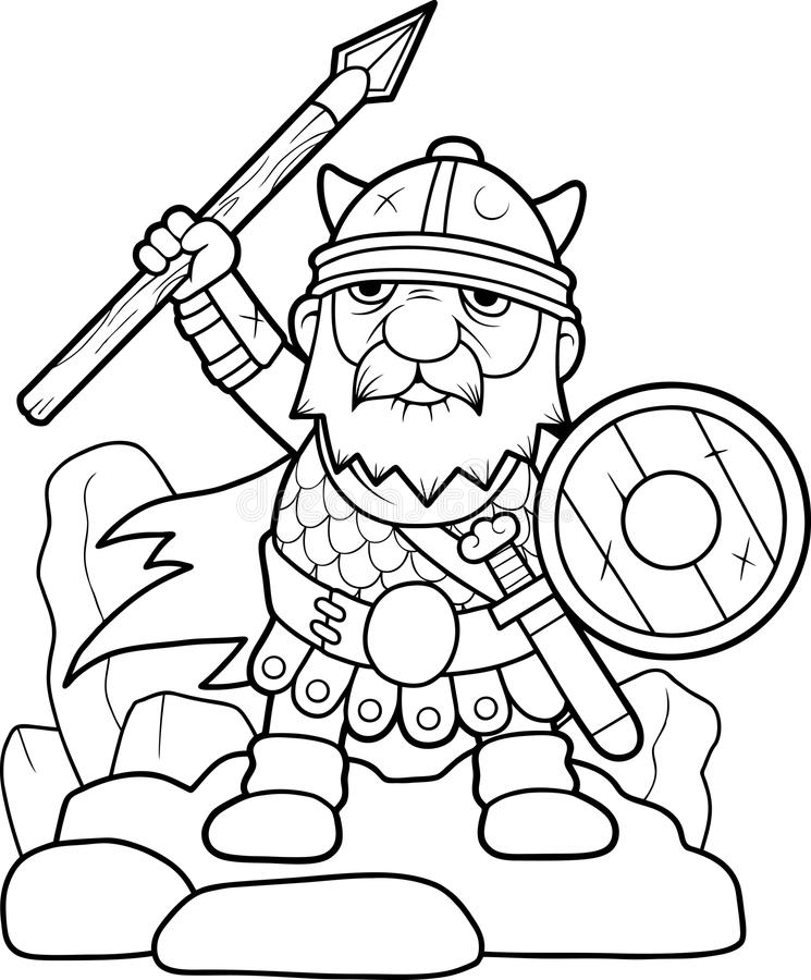 Viking prepares for battle vector illustration
