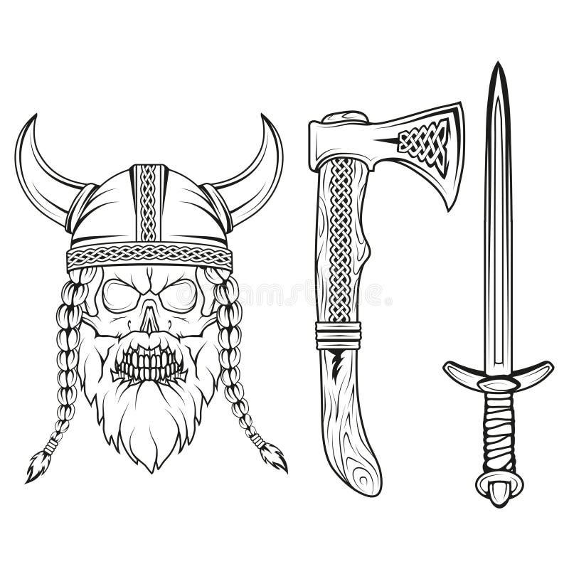 viking Räcka utdraget av en viking i en hjälm Skissa av det viking huvudet med traditionella vapen royaltyfri illustrationer