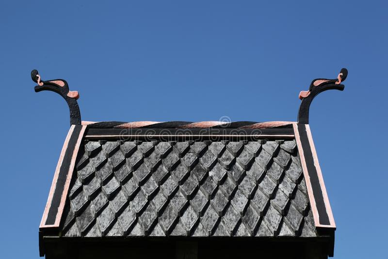 Viking roof. On an external bell in Moesgaard near Aarhus, Denmark stock images