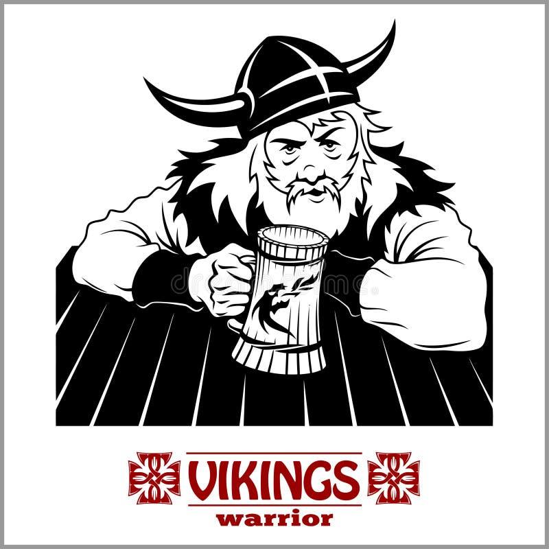 Viking rozochocony Viking z piwnym kubkiem w ręce ilustracja wektor