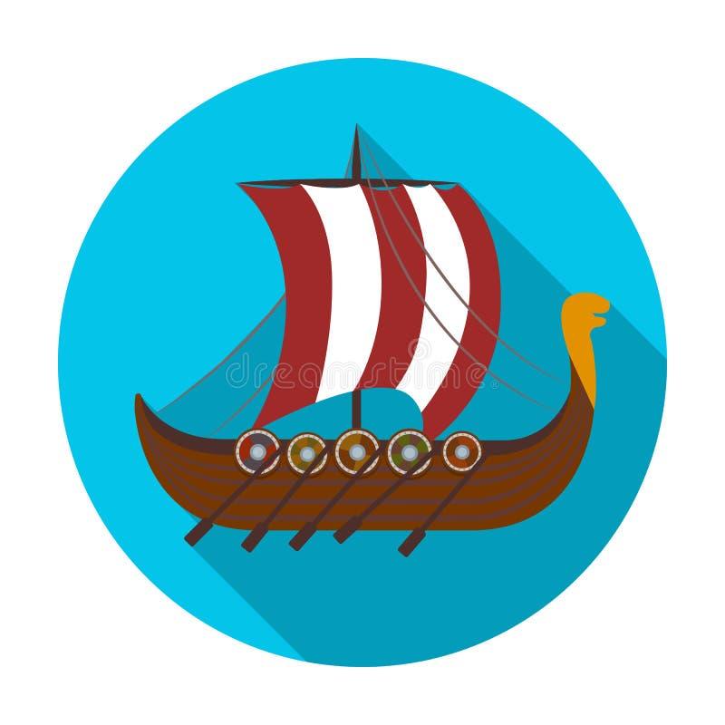 Viking s skeppsymbol i plan stil som isoleras på vit bakgrund Illustration för vektor för vikingsymbolmateriel stock illustrationer