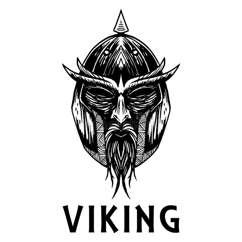 Viking Scandinavian Ancient Warrior Head Vector Icon Stock Vector