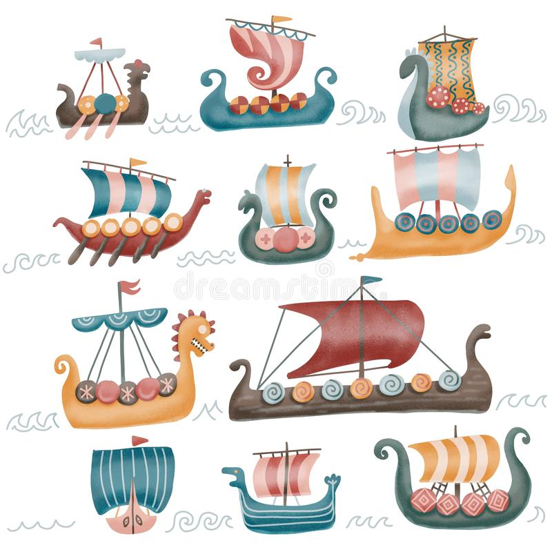 Free Viking Scandinavian Draccars Set, Norman Ship With Color Textured Illustrations Isolated On A White Background. 11 Stock Photo - 154444390