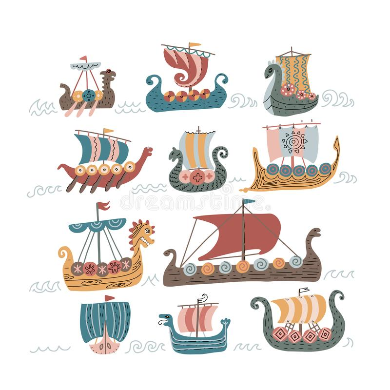 Free Viking Scandinavian Draccars Set, Norman Ship With Color Vector Illustrations Isolated On A White Background. 11 Viking Stock Photo - 154444440