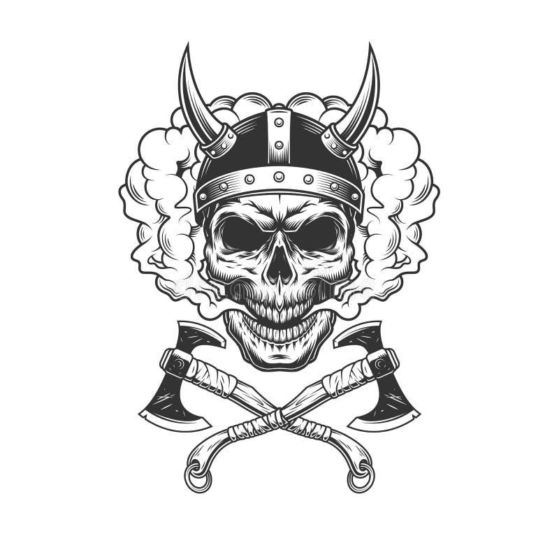 Viking-schedel die gehoornde helm dragen vector illustratie
