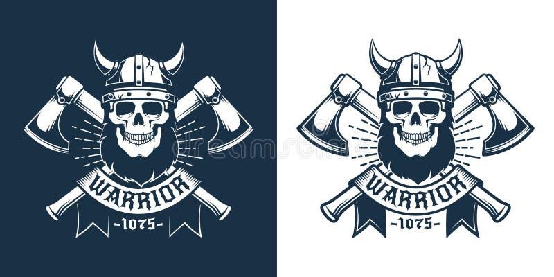 Viking-schedel met baard in gehoornde helm vector illustratie
