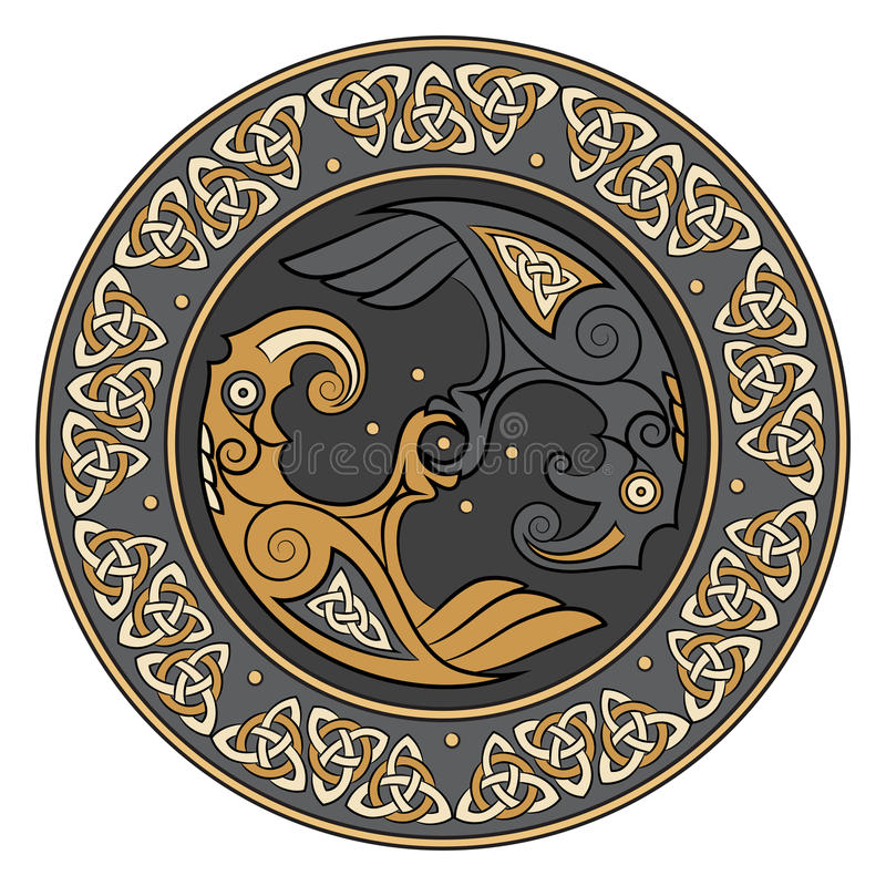 Viking-schild, met een Skandinavisch patroon en Raven van God Odin wordt verfraaid die Huginn en Muninn stock illustratie