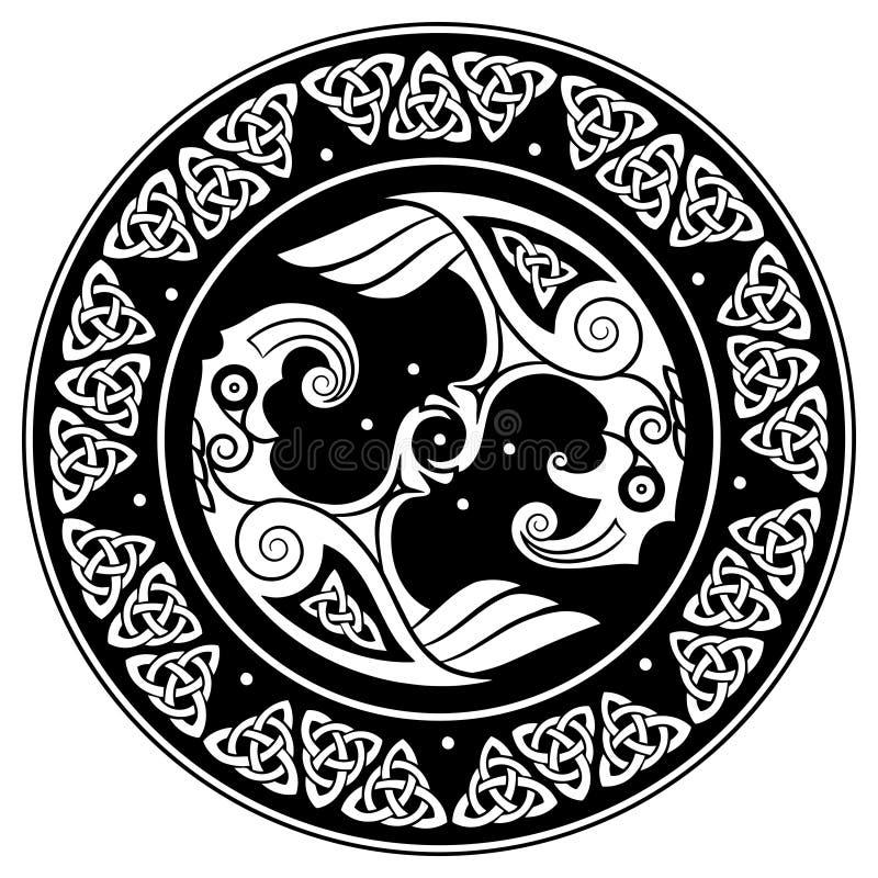 Viking-Schild, verziert mit einem skandinavischen Muster und Raben des Gottes Odin Huginn und Muninn lizenzfreie abbildung