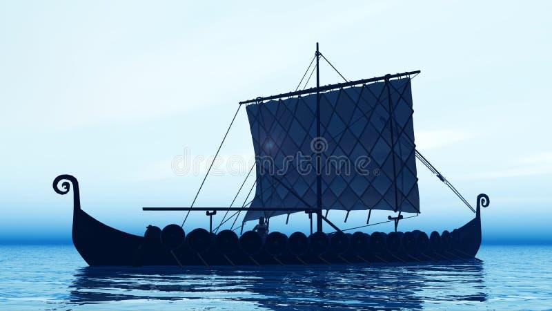 Download Viking-schip bij dageraad stock illustratie. Illustratie bestaande uit computer - 54075168