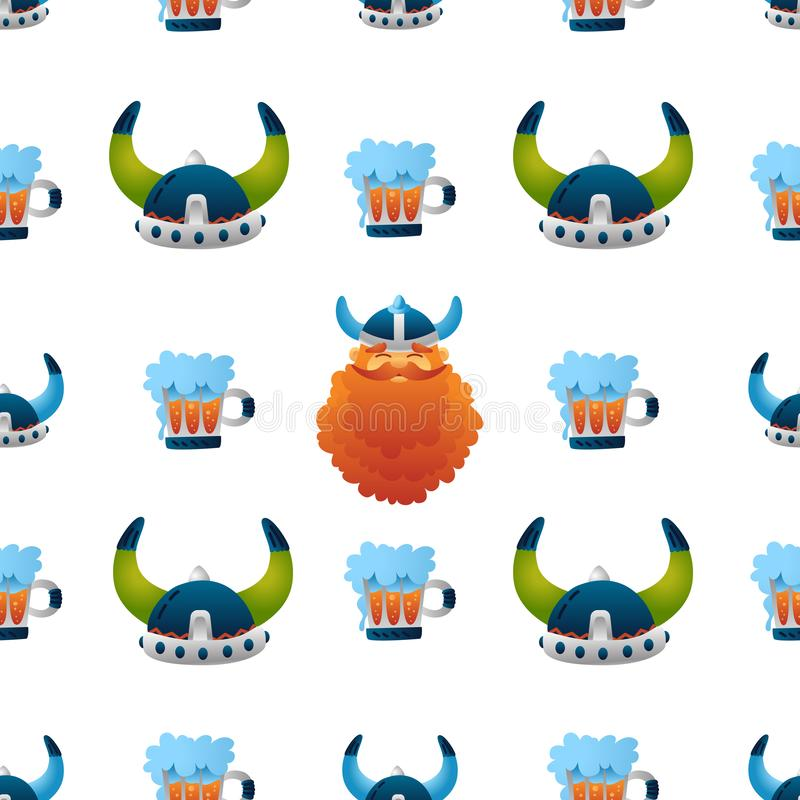 Viking seamless pattern, cute helmets, beer, warrior character. Funny colorful illustration for kids. Isolated on white background. Print, tshirt, fabric vector illustration
