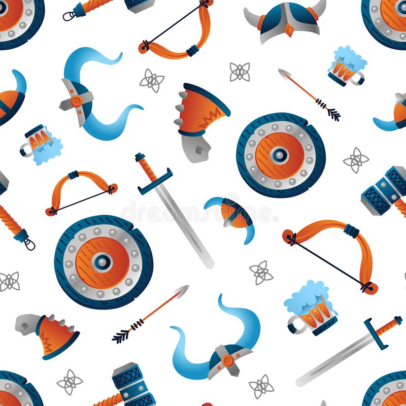 Viking seamless pattern warrior weapon. Funny colorful illustration for kids. Isolated on white background. Print, tshirt, fabric, web. Vector royalty free illustration