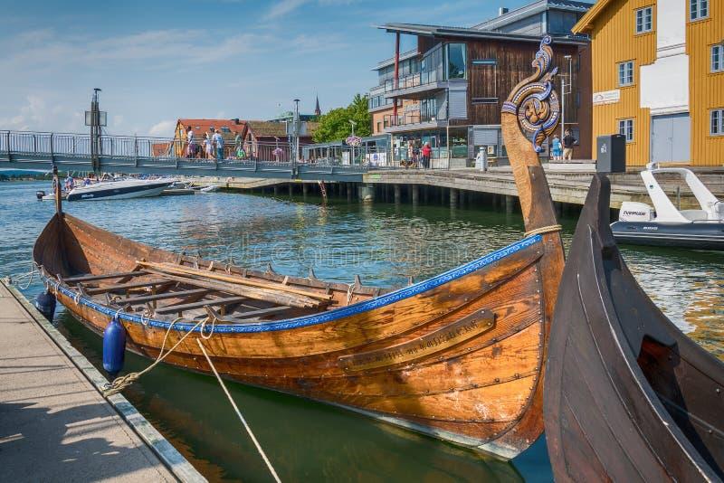 Viking Ship in the fjord, Tonsberg, Norway. Tonsberg, Norway - July 24, 2016: Viking Ship in the fjord, Tonsberg, Norway stock photos