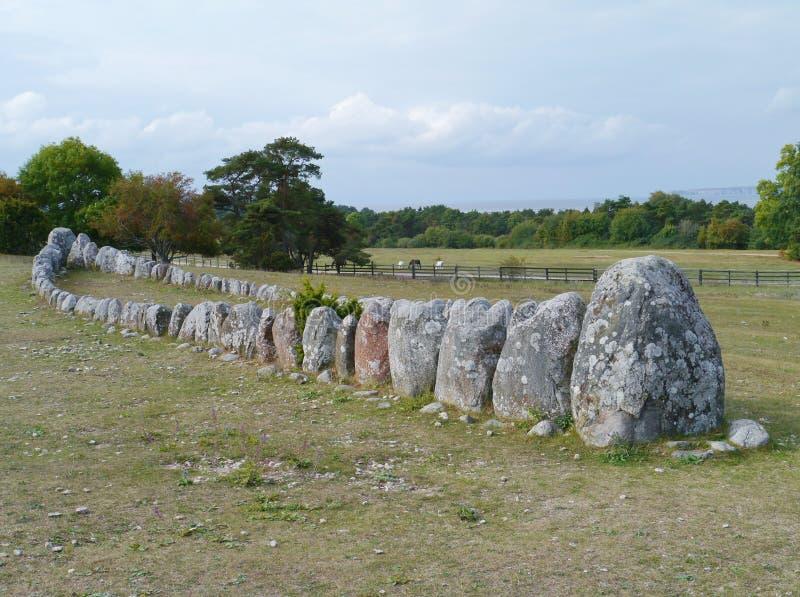 Viking ship grave stock images