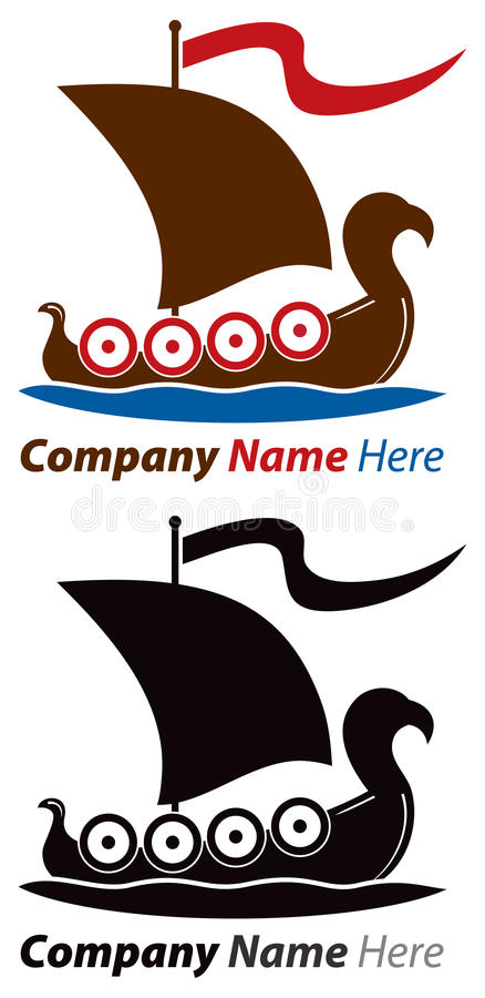Viking Ship Logo stock illustration