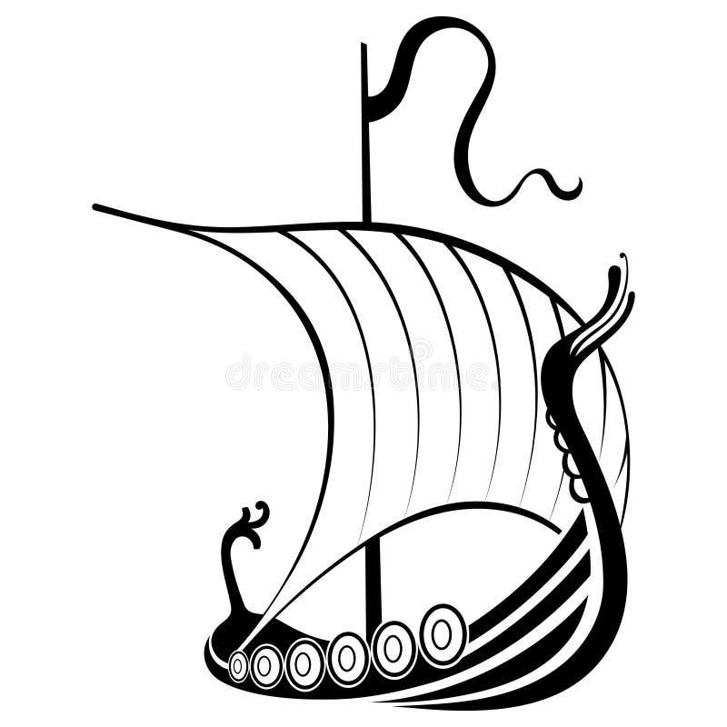 Free Viking Ship Sailing. Drakkar With A Dragons Head. Warship Of The Vikings Royalty Free Stock Photos - 175141228