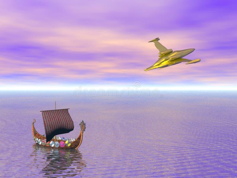 Download Viking Ship And Spaceship Stock Image - Image: 11351451