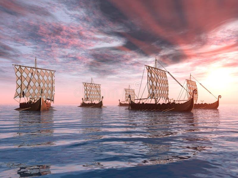 Viking Ships illustrazione vettoriale