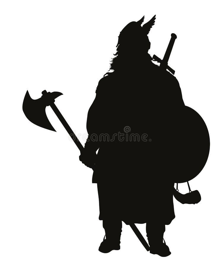 Viking-silhouet De strijders als thema hebben royalty-vrije illustratie