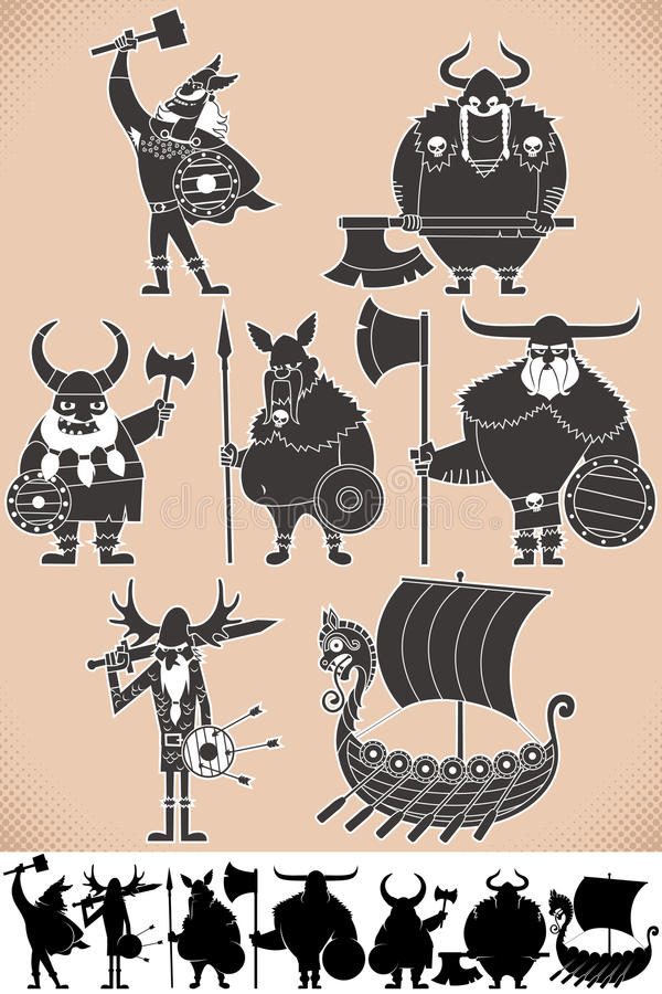 Free Viking Silhouettes Royalty Free Stock Photography - 37267007