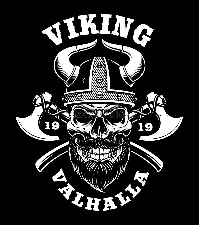 Viking skalle med yxor vektor illustrationer