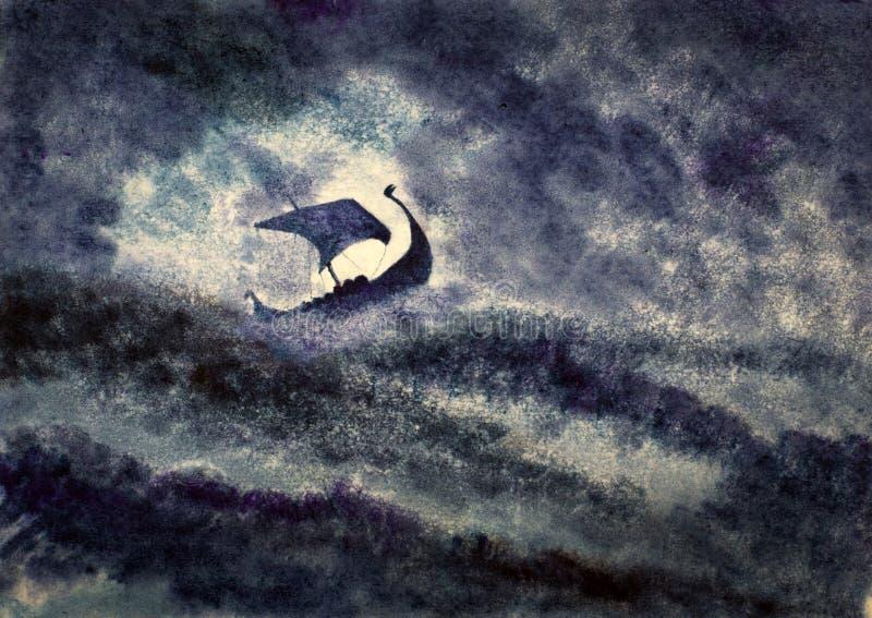 Viking skepp i en storm vektor illustrationer