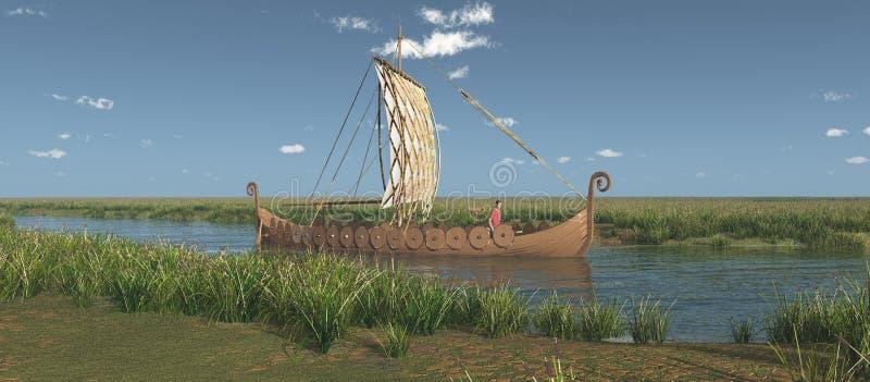 Viking skepp på en flod stock illustrationer